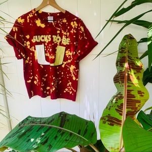 vintage vsco 90s FSU bleach splatter hand crop top